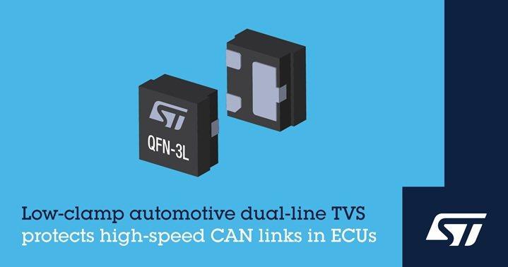 意法半導體車規低電容瞬壓抑制器,保護高速介面。 意法半導體/提供