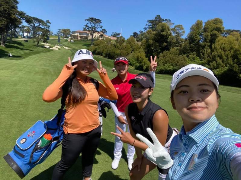 美國女子高球公開賽前練習,圖左起為徐薇淩及業餘選手洪若華、曾彩晴。 擷圖自徐薇淩臉書