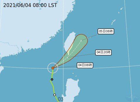 依最新颱風路徑顯示,今天午後可能逐漸影響台灣北部、中部山區及東半部沿海。圖/氣象局提供
