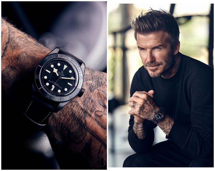 帝舵品牌大使貝克漢近日也火速戴上新款Black Bay Ceramic腕表,展現...