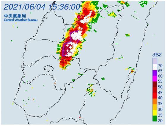 中央氣象局針對南投縣、雲林縣發布大雷雨即時訊息。圖/氣象局提供