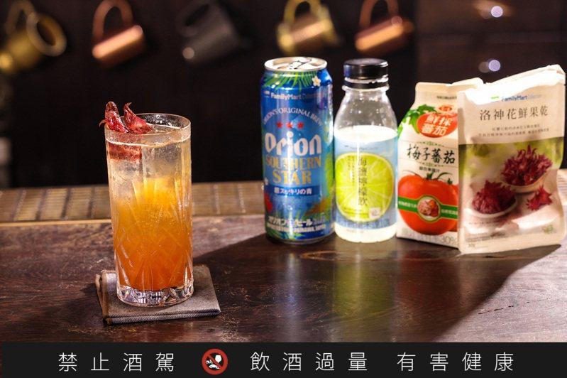 啤酒、便利商店便能簡單取得的果汁、果乾,便能調出一杯0失敗啤酒調酒。記者李政龍 / 攝影。提醒您:喝酒不開車、開車不喝酒。