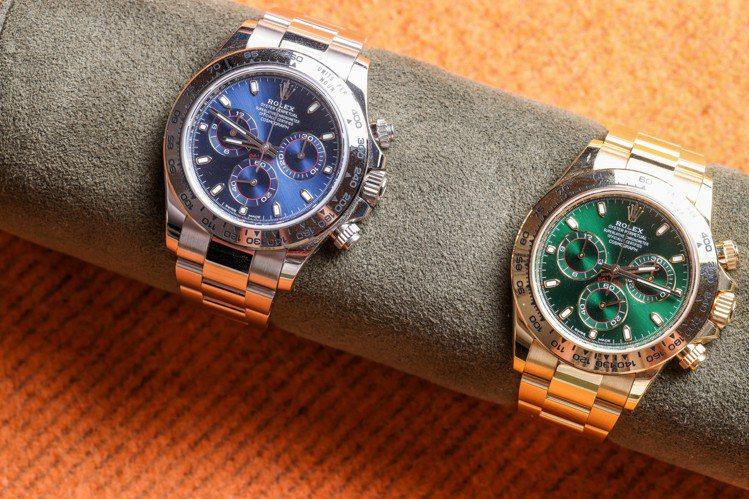 藍色、綠色面盤的迪通拿計時碼表在市場擁有不錯行情,也是Jeffrey收藏的心頭好...
