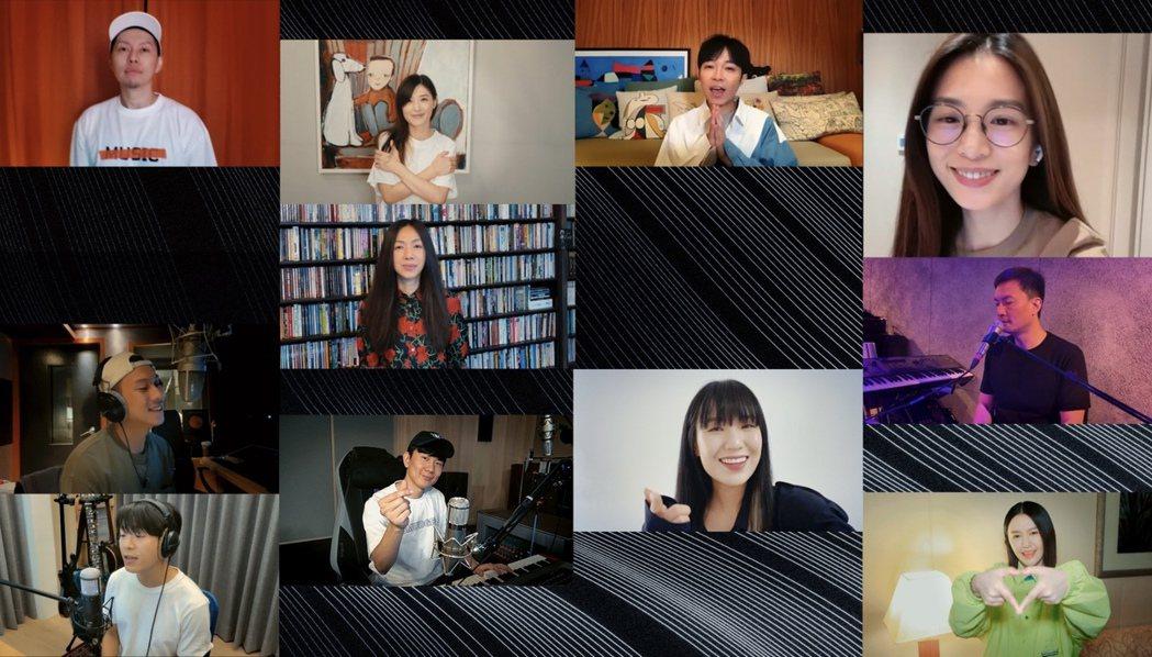 金曲32入圍11名歌手為新版「手牽手」雲合唱。圖/台視提供