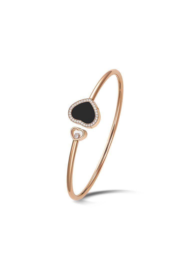 Happy Hearts系列符合倫理道德標準的18K玫瑰金縞瑪瑙鑽石手環,13萬...