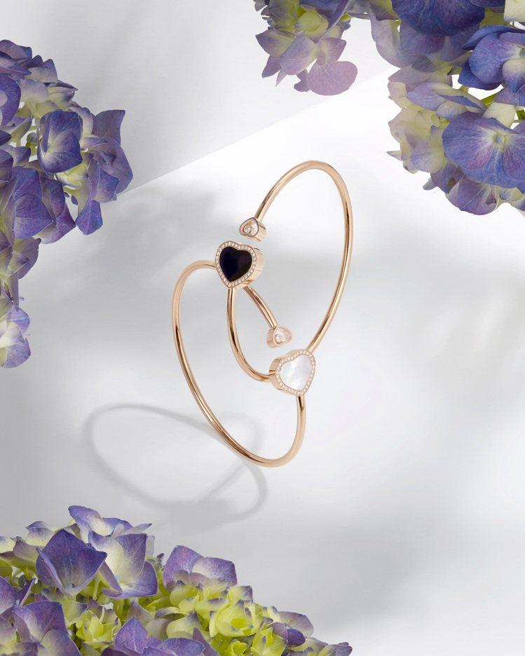 Happy Hearts系列全新手環以符合倫理道德標準的18K玫瑰金鑲嵌縞瑪瑙與...