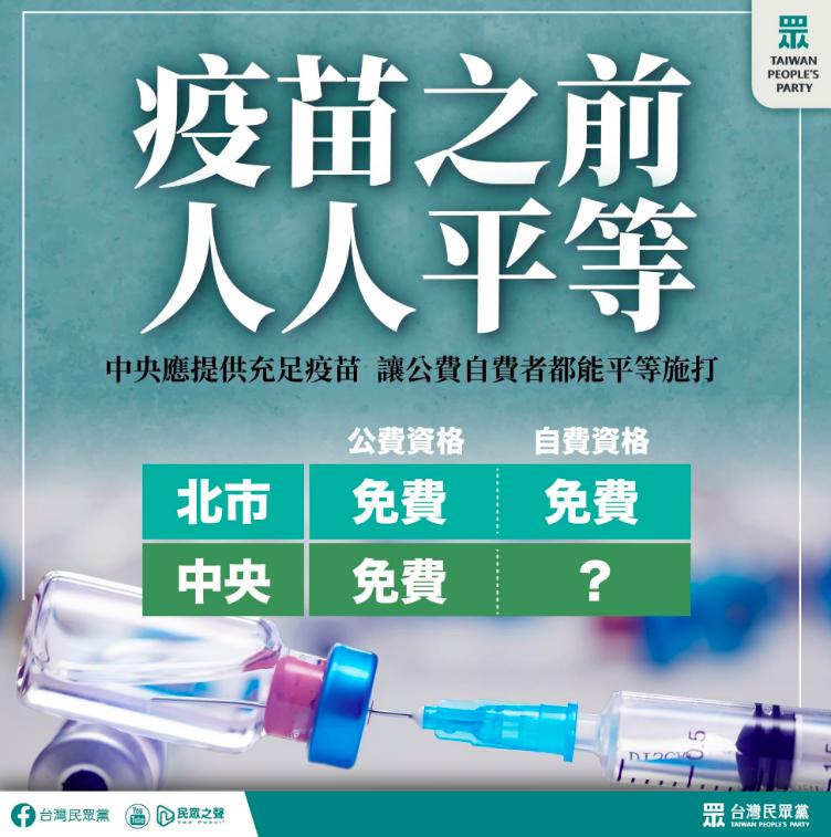 民眾黨製作圖卡,盼疫苗免費施打。圖/台灣民眾黨提供