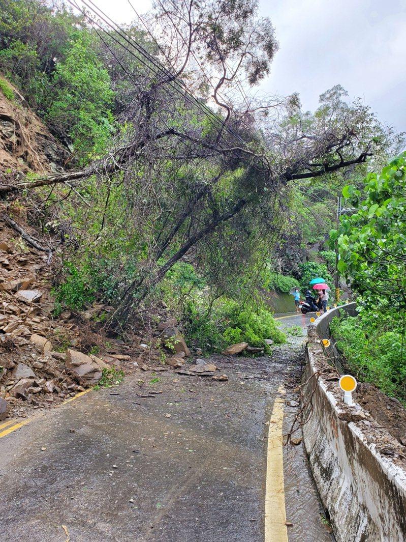 高雄市茂林區主要道路高132線因土石滑落,樹枝勾到電線,造成多納里全里130戶停電。圖/茂林區公所提供