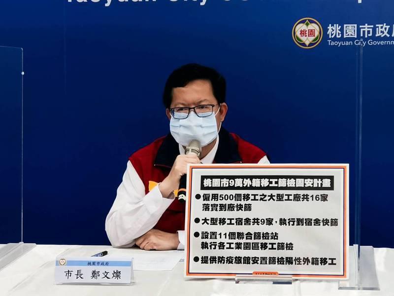 桃園市長鄭文燦宣布明天起5天檢查超過50名移工的工廠、宿舍。圖/市府提供
