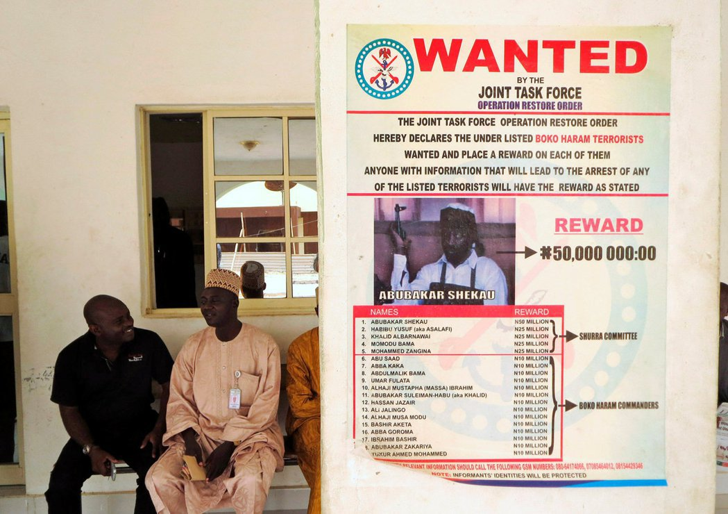 奈及利亞政府發出的謝考懸賞通緝。 圖/路透社