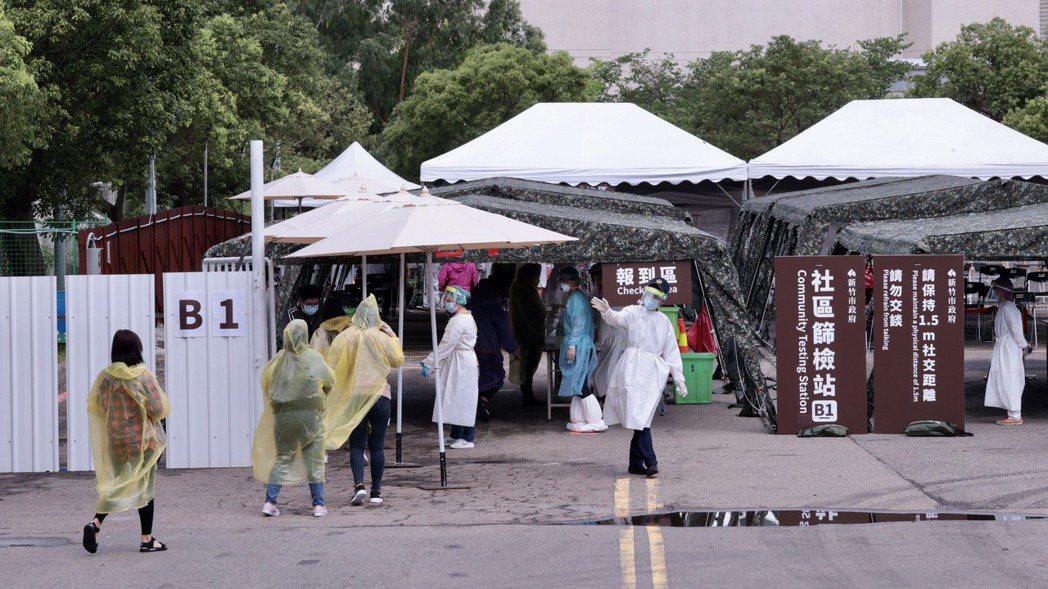 新竹科學園區建置「快速篩檢站」。記者黃義書/攝影