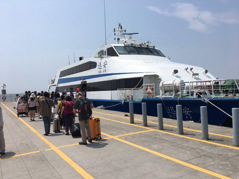 降低群聚感染風險及維護民眾安全健康,航港局特別提供「船舶檢查」、「船員訓練」及「駕駛監理」等三項便民措施。圖為船舶示意圖。   記者楊文琪/攝影