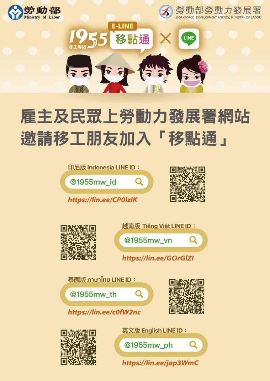 勞動部邀請移工朋友加入Line@移點通。圖/勞動部提供