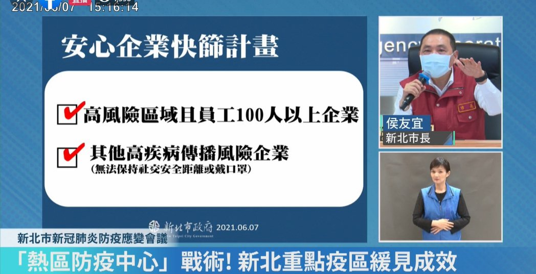 新北市長侯友宜推出安心企業快篩計畫,將協助企業購買快篩試劑。圖/取自侯友宜臉書