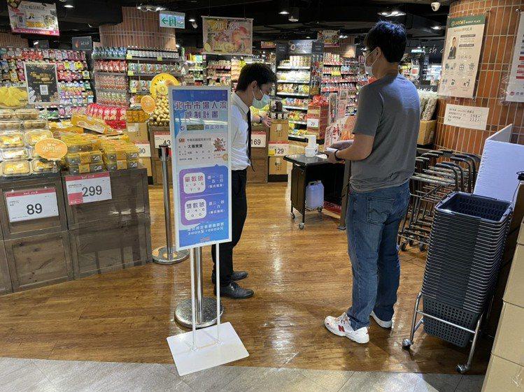 遠東百貨位於台北市分店的超市即日起啟動身分證分流入內採購。圖/遠東百貨提供