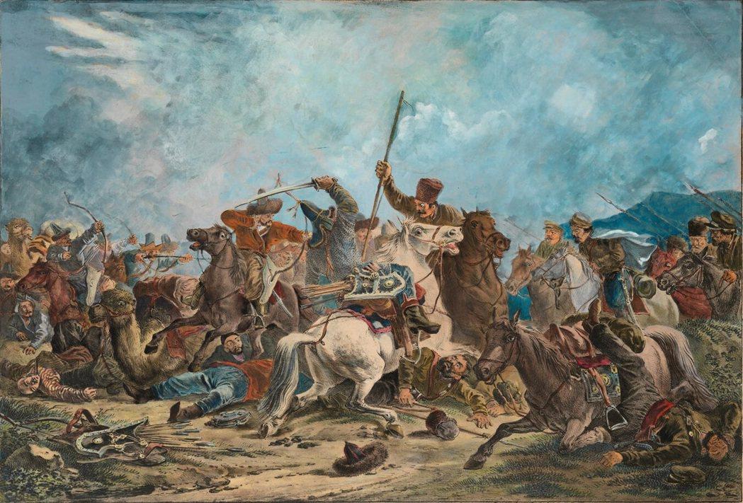 圖/維基共享:19世紀沙俄的烏拉爾哥薩克軍團的中亞征伐。