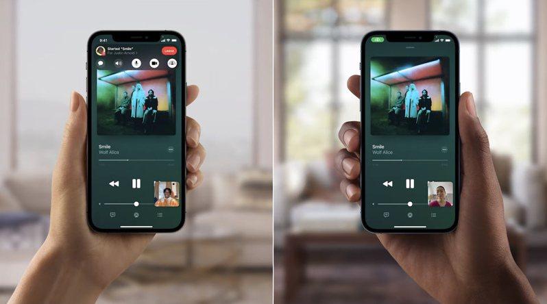 利用SharePlay,使用者可在FaceTime通話中輕鬆使用Apple Music和通話者一起聽音樂。圖/摘自發表會
