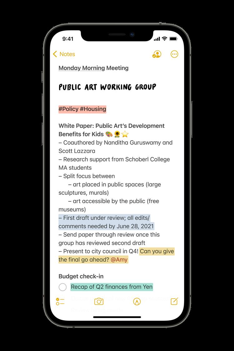 「備忘錄」新增可供使用者自訂標籤,以及可@人名的「提及」功能,快速分類查找相關筆...