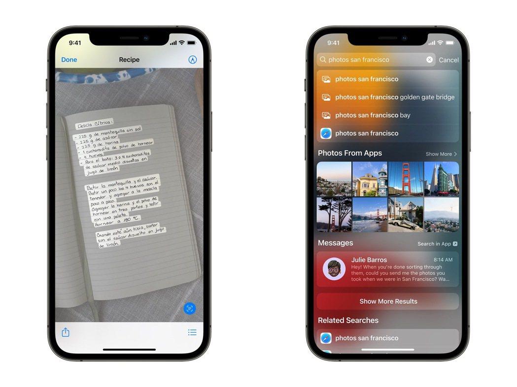 「原況文字」運用裝置端的智慧技術辨識文字,讓照片內的資訊更加容易被使用,也讓照片...