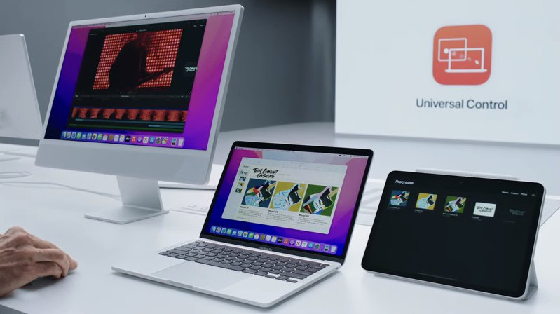 iPadOS 15中的「通用控制」讓使用者能透過單一滑鼠和鍵盤在iPad和Mac之間,享受切換自如的無縫使用體驗。圖/摘自發表會