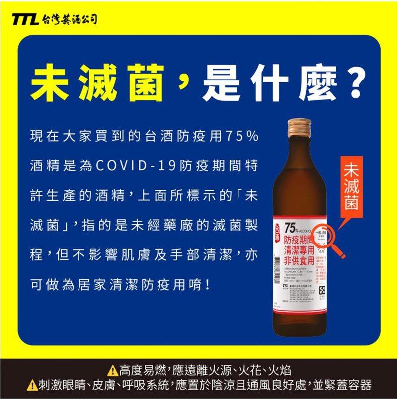 75%防疫酒精是否經過「滅菌」過程,並不影響居家清潔使用。圖/摘自台灣菸酒官網。