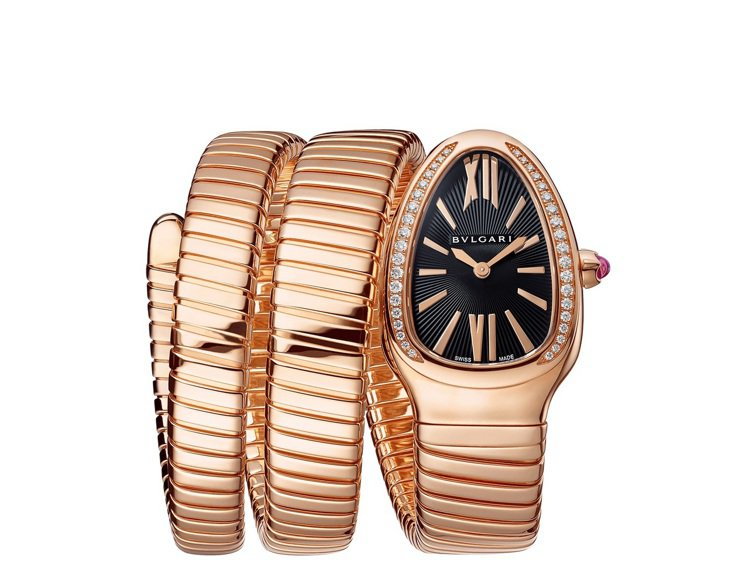 寶格麗Serpenti Tubogas 18K玫瑰金雙圈鑲鑽腕表,129萬6,0...