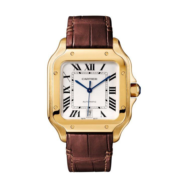 卡地亞Santos de Cartier黃K金鍊帶腕表大型款,90萬元。圖/卡地...