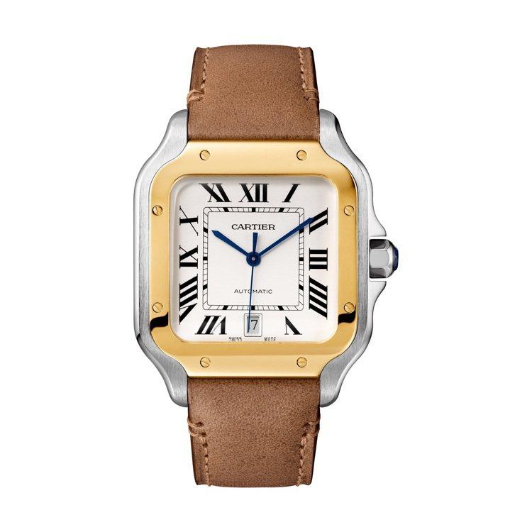 卡地亞Santos de Cartier黃K金及精鋼鍊帶腕表大型款,31萬6,0...