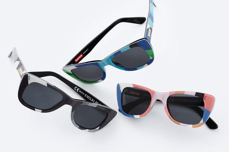 Supreme與Emilio Pucci聯名系列印花太陽眼鏡。圖/摘自Supre...