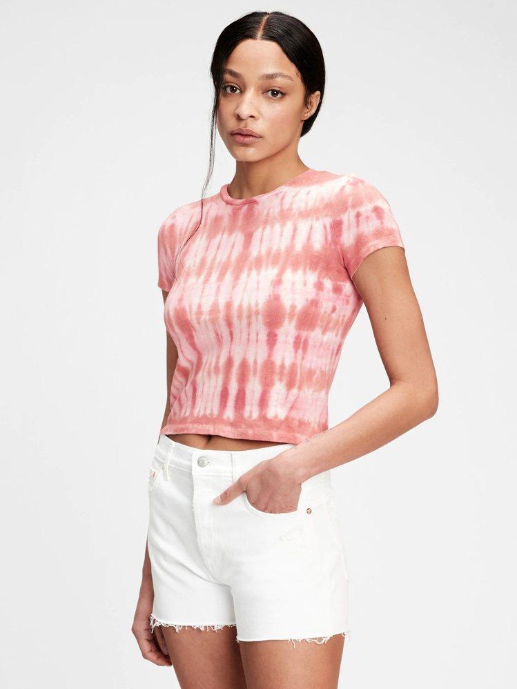 Gap紮染純棉短版T恤限時優惠599元。圖/Gap提供
