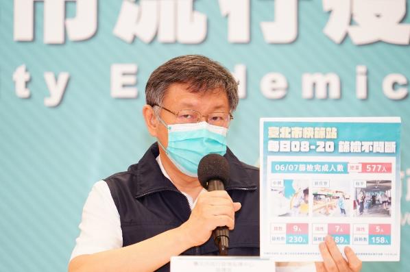 台北市長柯文哲說,最近聽說有電商業績成長五倍,危機就是轉機,明天會討論,看怎麼將計程車人力轉到物流,會盡快訂定一個方法出來。圖/北市府提供