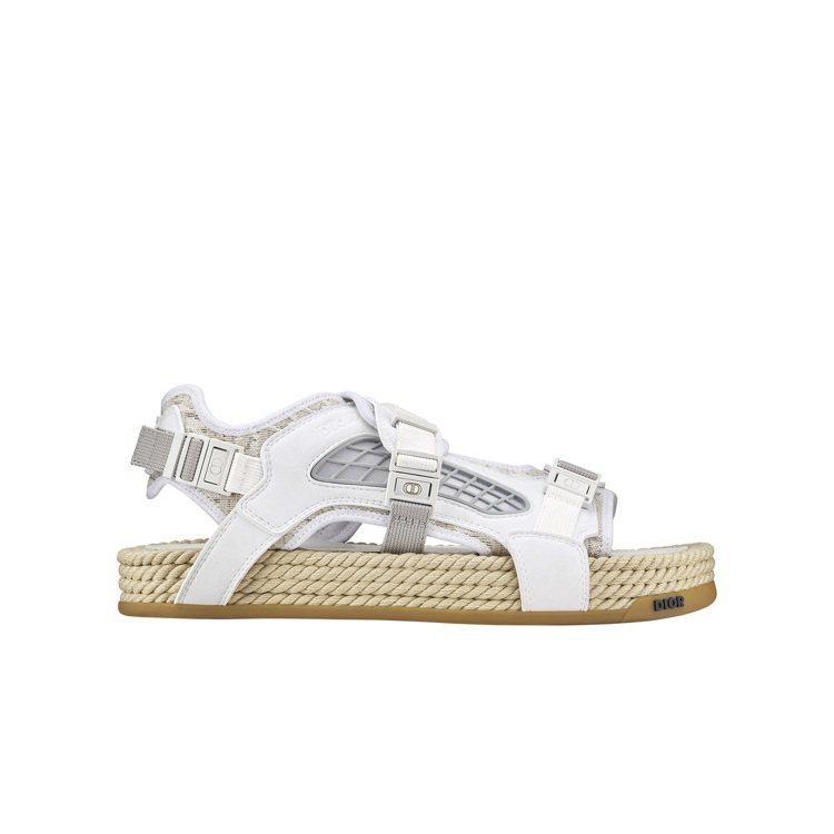 DIOR Atlas白色Oblique緹花繫帶涼鞋,33,000元。圖/DIOR...