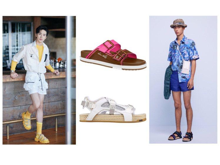 FENDI、LV和DIOR都推出男士運動涼鞋或拖鞋。圖/DIOR提供