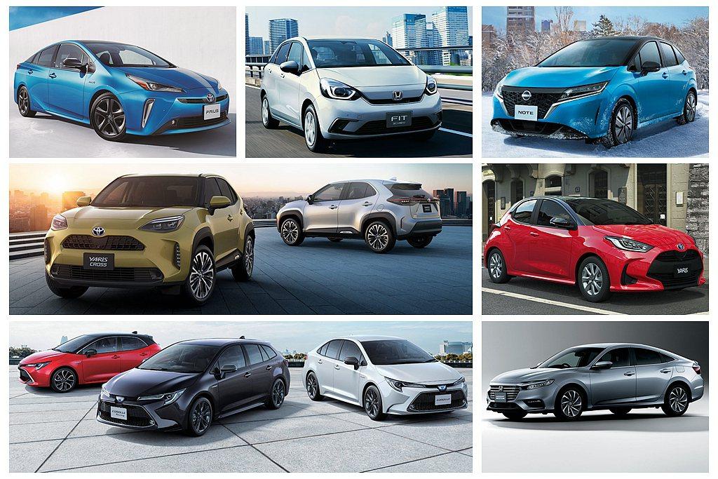 日本國土交通省公布的新車省油排行榜中,今年出現休旅車入榜。 圖/各車廠提供