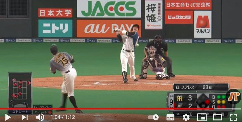 9局下一分差、一壘有人時輪到台灣好手王柏融上場打擊,他面對阪神終結者蘇亞雷斯(Robert Suarez)瘋狂纏鬥11球,可惜最後打出飛球出局。 截圖自影片