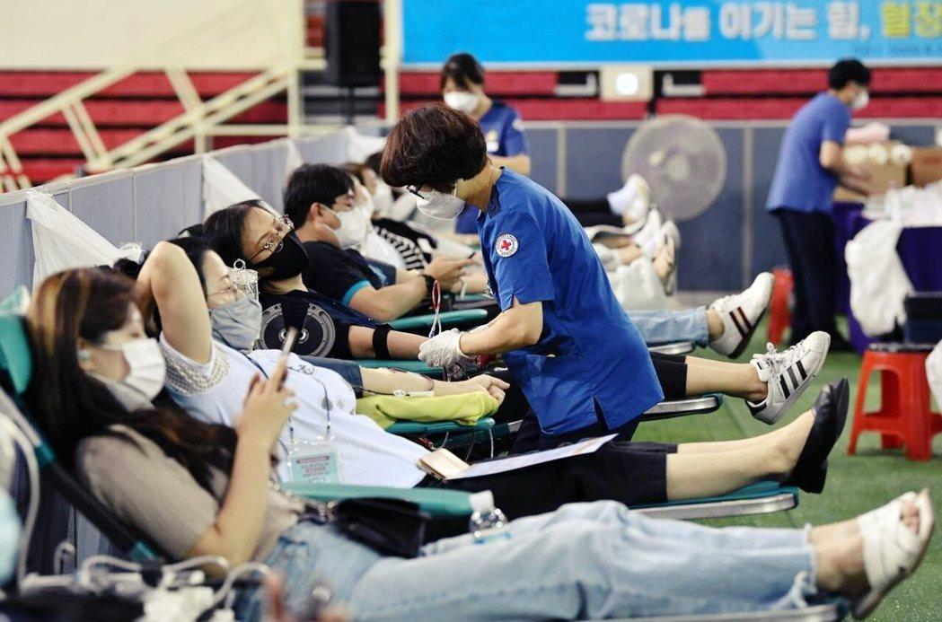 圖為2020年8月,大邱新天地教會的染疫痊癒者,主動捐血以提供「抗體血漿」協助戰...