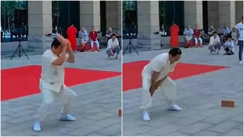 河南一名男子在表演氣功破頭時遇挫。 圖/星視頻