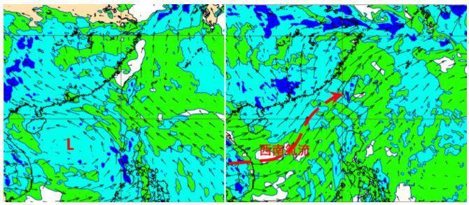 歐洲(ECMWF)模式模擬850百帕風場圖顯示,周五晚上8時南海有熱帶擾動(左圖...