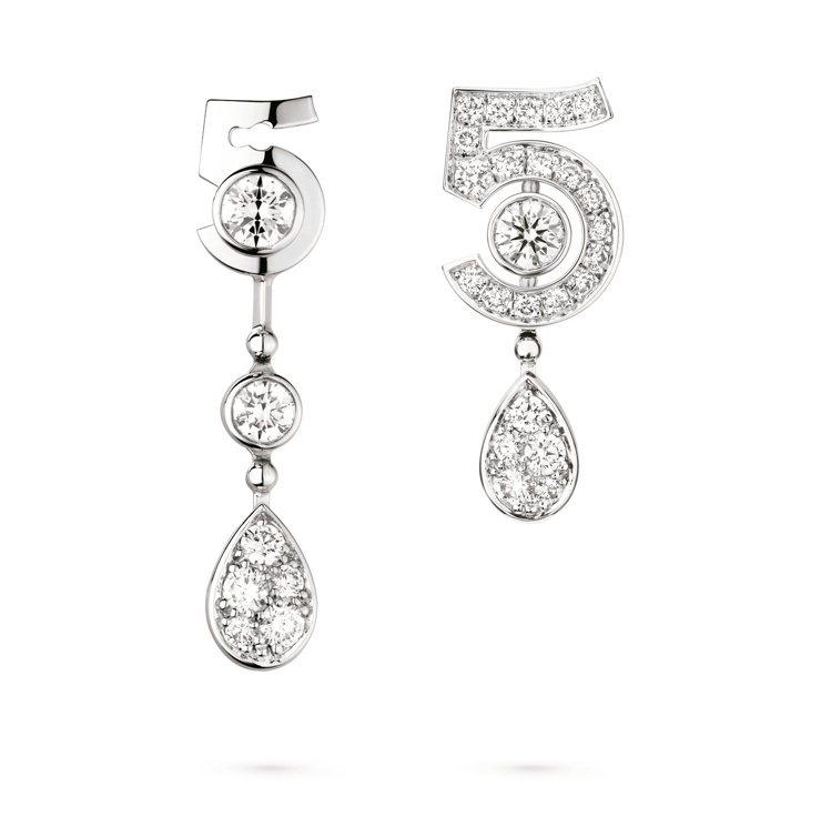 ETERNAL N°5耳環(可轉換式設計)18K白金鑲嵌2顆各重約0.12克拉明...