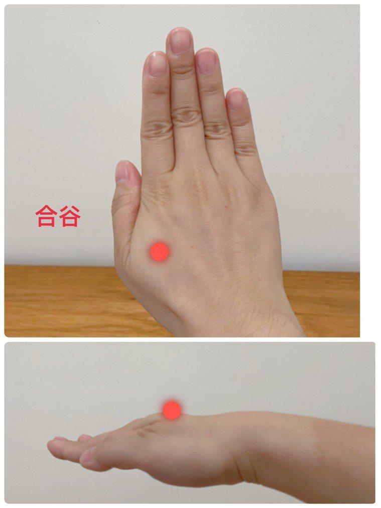 手掌的合谷穴具有疏散風邪、和胃通腸的功效。圖/南投醫院提供