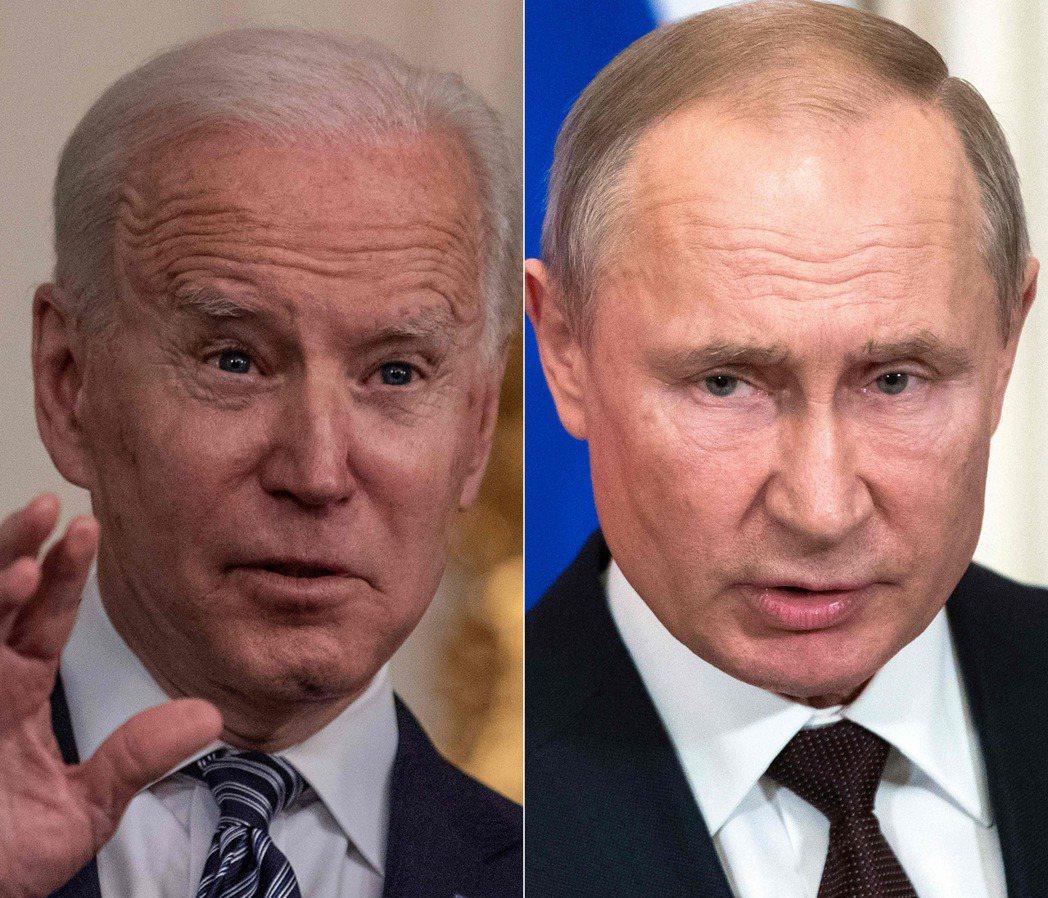 美國總統拜登(左)16日將在日內瓦會晤俄國總統普亭,白宮國安會與國務院高層都將美...