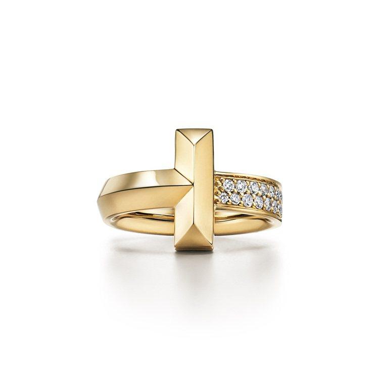 Tiffany T1 18K金寬版鑲鑽戒指,13萬4,000元。圖/Tiffan...