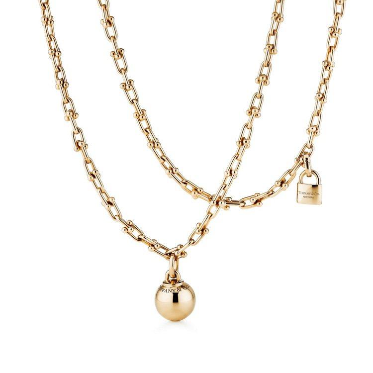 Tiffany HardWear 18K金垂墜球形與鎖扣雙圈項鍊,63萬元。圖/...