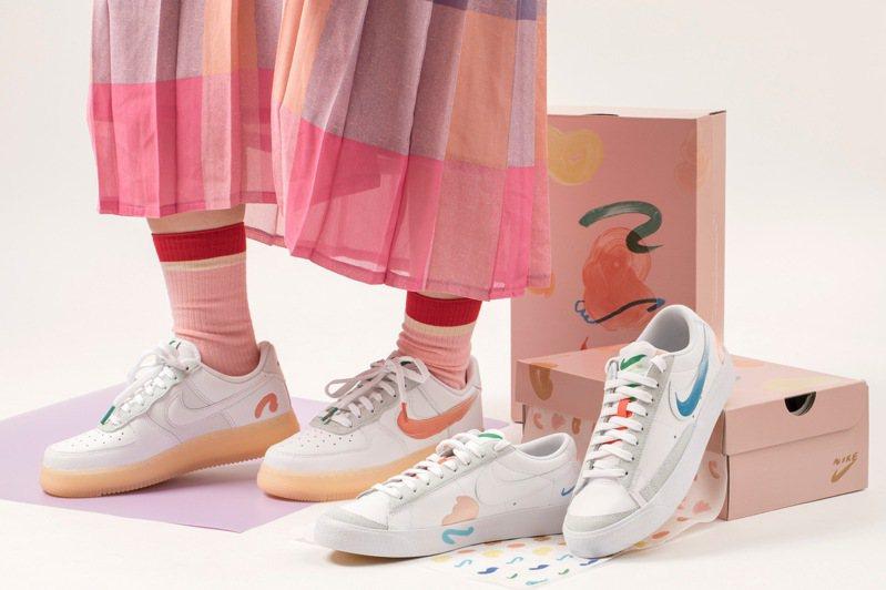 Nike攜手藝術家Mayumi Yamase打造全新Blazer Low鞋3,400元與Air Force 1鞋4,500元。圖/FRUITION提供