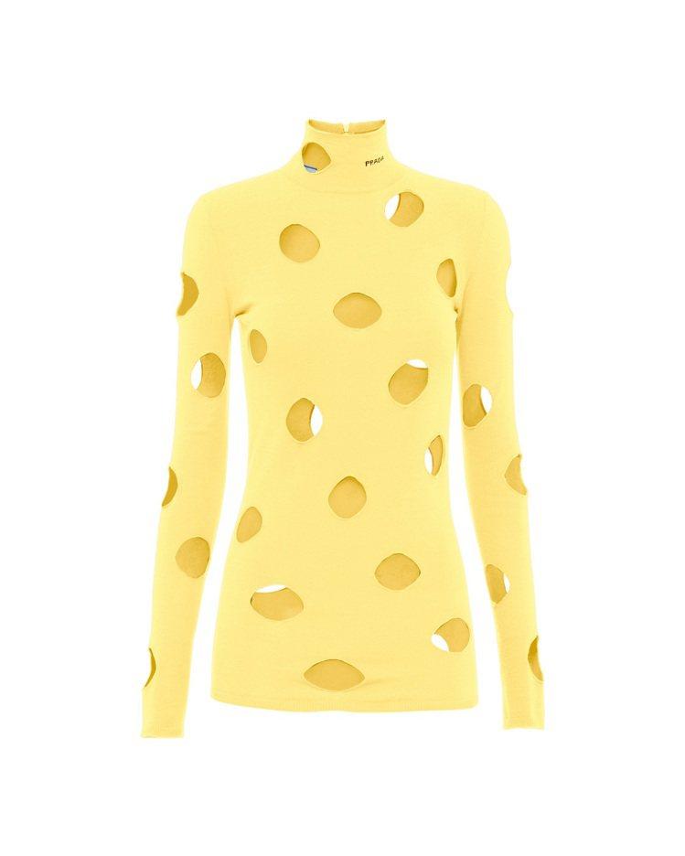 洞孔裝飾針織上衣,43,000元。圖/PRADA提供