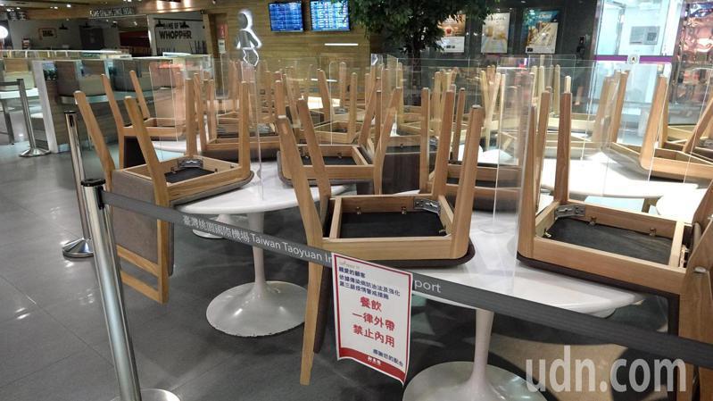 桃園機場遵照上級指示,航廈室內包括旅客在內全面禁止用餐,第1航廈地下2樓美食街9日已經貼出告示,同時把餐椅集中放置。記者陳嘉寧/攝影