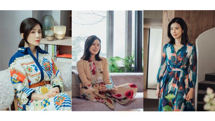 李寶英在《我的上流世界》中,以繁花盛開的裙裝展現角色個性。圖/NETFLIX提供