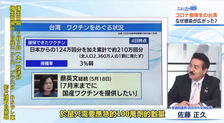 日本福島縣自由民主黨參議員佐藤正久指出,台灣製的疫苗也從7月起兩家公司準備一次1...