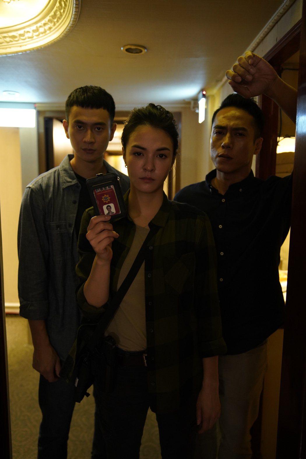 劉冠廷(左起)、莊凱勛、張榕容主演「第三佈局 塵沙惑」。圖/CATCHPLAY提