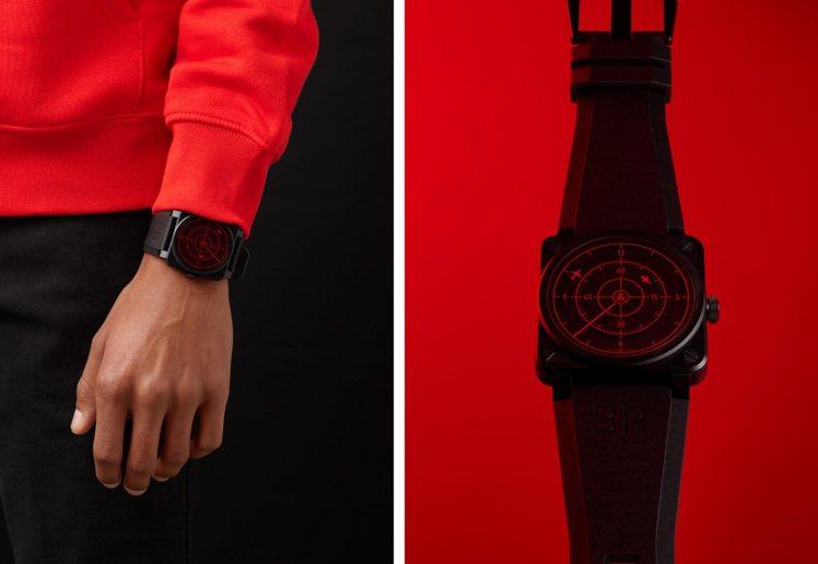 搶眼的方形表殼與鮮明的紅黑對比,讓Bell & Ross BR 03-9...